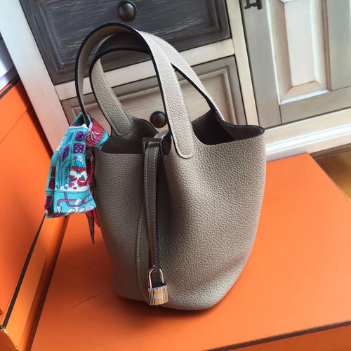 Hermes Etoupe Picotin Lock MM Togo Leather Bag 0a62a2965683c