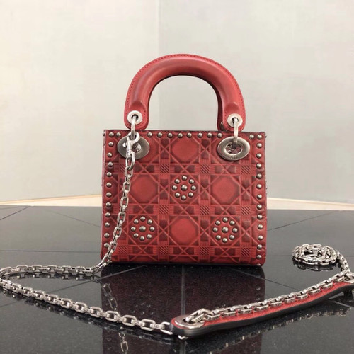 eb867ac9be796e Mini Lady Dior Bag In Red Studded Calfskin | Stanford Center for ...