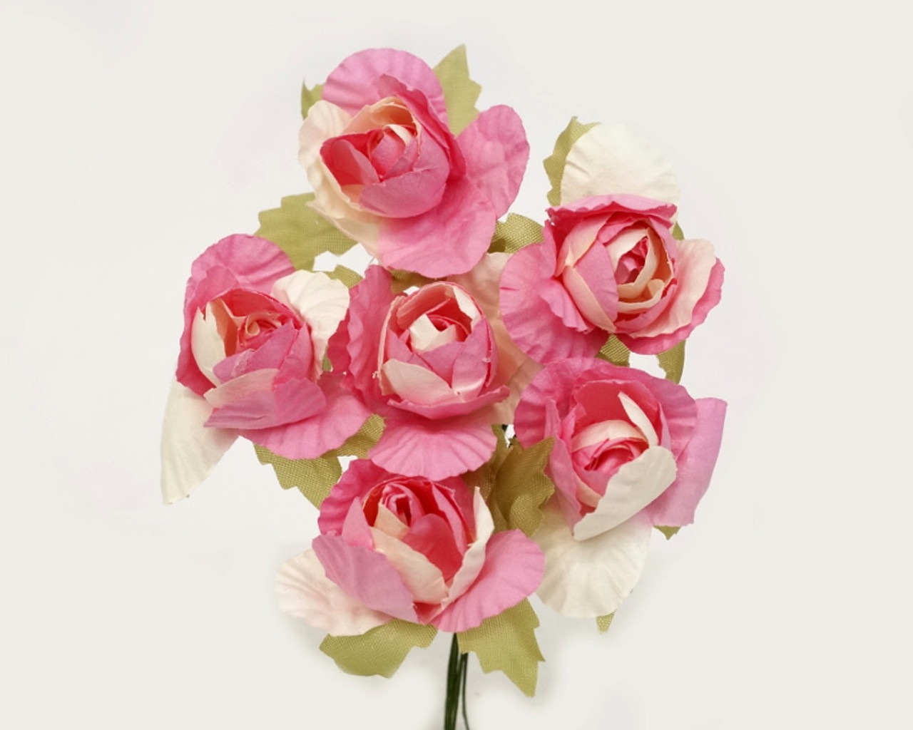 125 Two Tone Pink Ivory Big Rose Paper Craft Flowers Pack Of 72