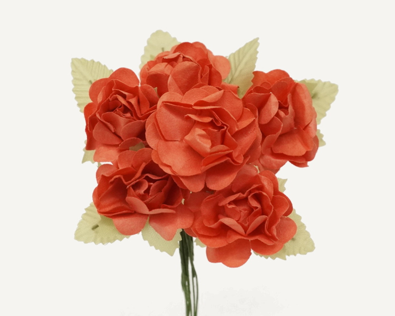1 Coral Big Rose With Leaf Paper Craft Flowers Pack Of 72 Cb