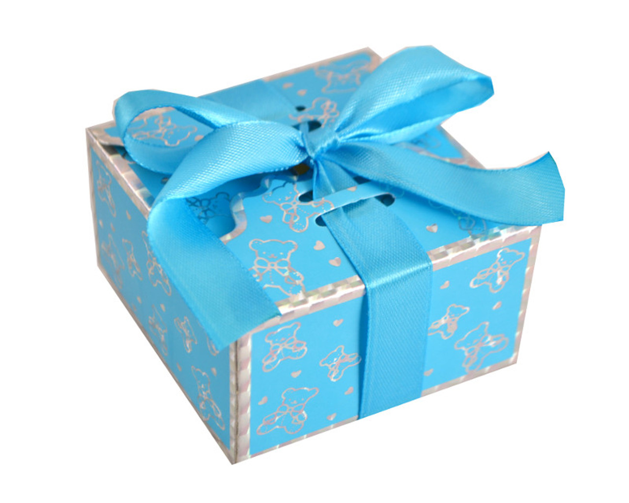 Blue Baby Shower Favor Box With Satin Ribbon   Pack Of 50