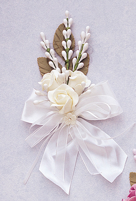 6 white silk clay corsage flowers pack of 6 cb flowers crafts 6 white silk clay corsage flowers pack mightylinksfo