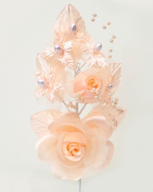 6 peach silk corsage flowers with pearl spray pack of 12 cb 6 peach silk corsage flowers with pearl spray pack mightylinksfo