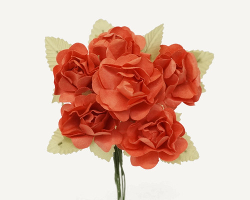 Flowers mulberry paper flowers 1 craft paper roses page 1 1 coral big rose with leaf paper craft flowers pack mightylinksfo