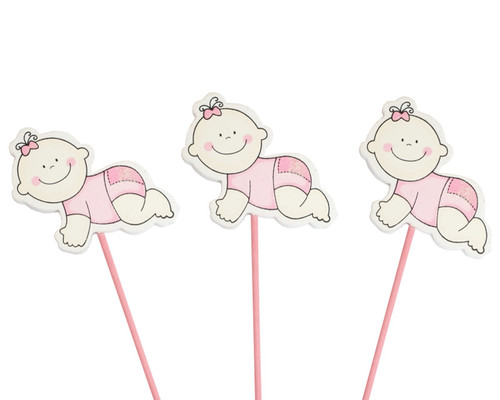 Pink Baby Shower Crawling Baby Girl Wood Picks Pack Of 12 Cb