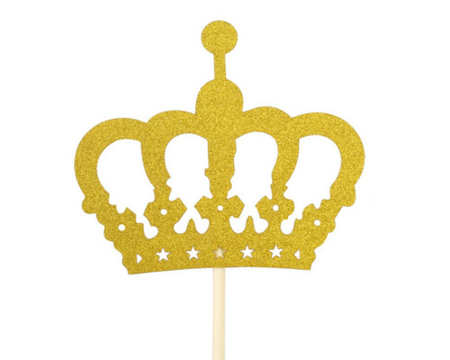 145 Gold Glitter Crown Centerpiece Cake Topper