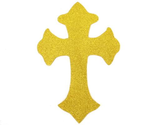 11 Quot X 7 5 Quot Gold Decorative Glitter Foam Cross Cutouts