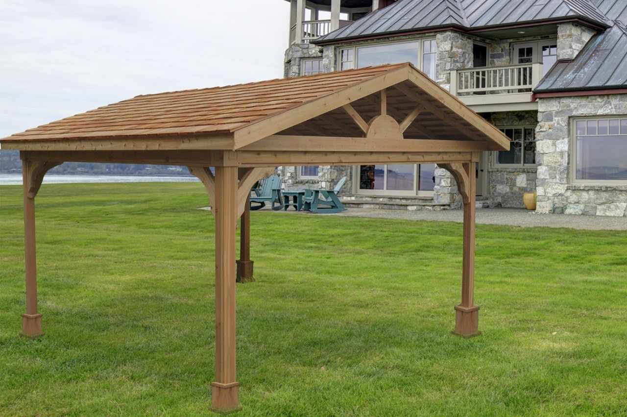 Pressure treated pine gabled roof pavilion
