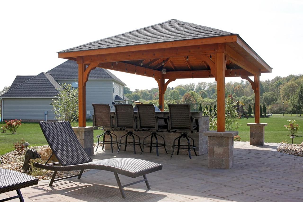 12x16 Patio Cover, Western Red Cedar, Rustic Black Asphalt Shingles, Cedar color stain / sealant, electrical package. Edinboro, PA.