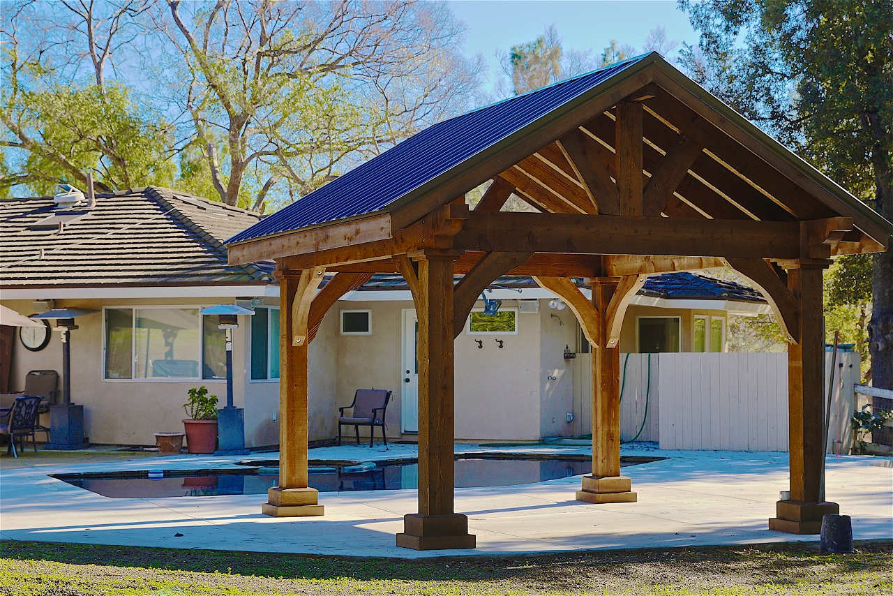 14x14 Grand Cedar Pavilion, Rough Sawn Western Red Cedar, Walnut Stain, Thousand Oaks, CA.