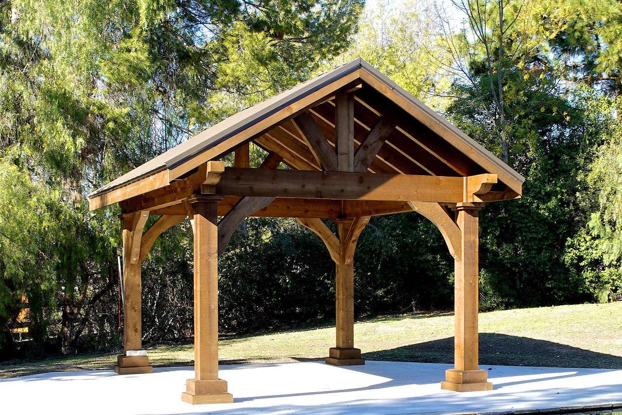 Open gable end of 14x14 Grand Cedar Pavilion, Rough Sawn Western Red Cedar, Walnut Stain, Thousand Oaks, CA.