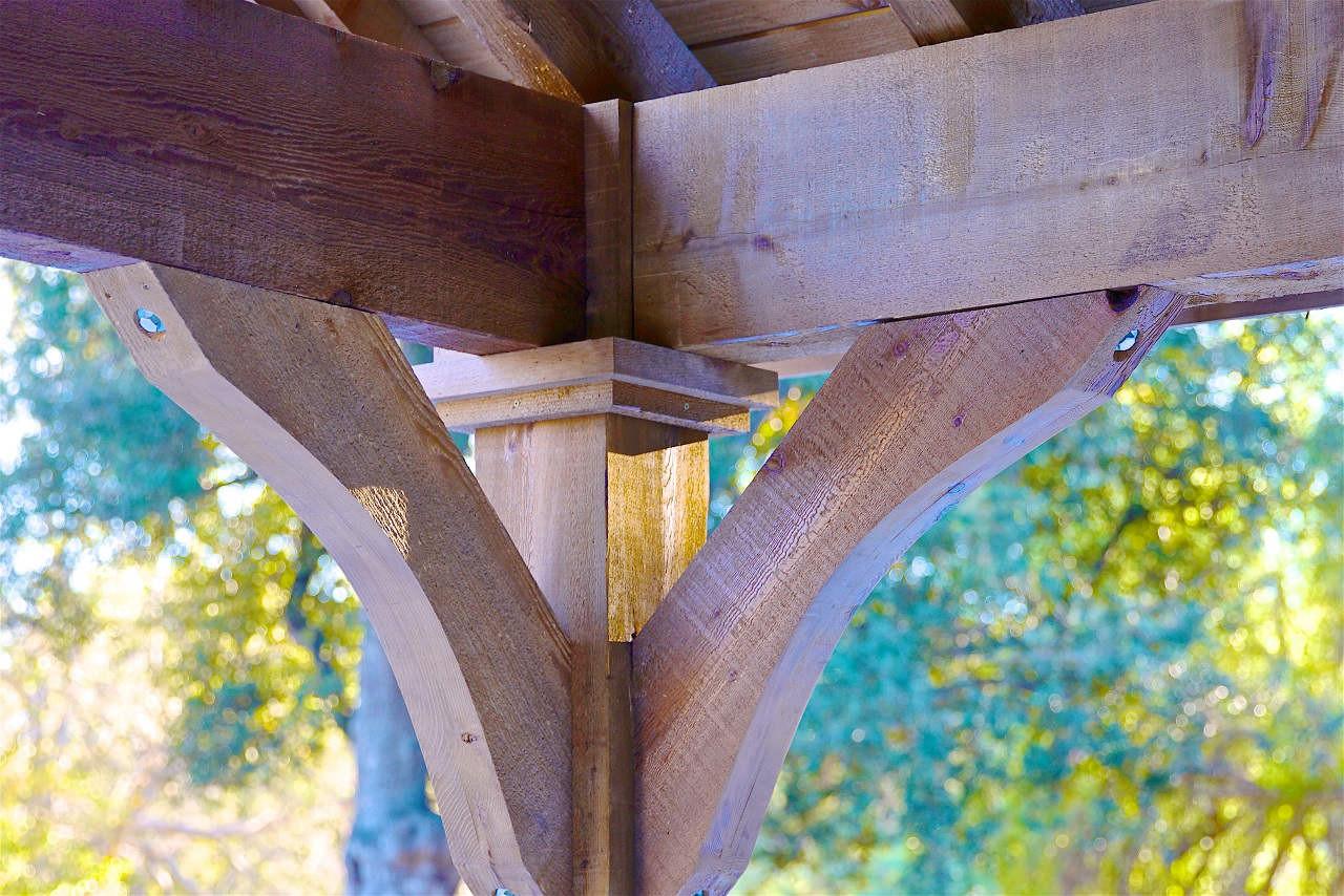 Corner braces on 14x14 Grand Cedar Pavilion. Thousand Oaks, CA.