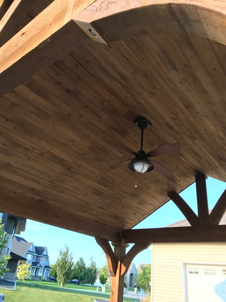 Tongue & Groove Ceiling of finished Western Red Cedar on a 14x16 (outside post dimension) Grand Cedar Pavilion. Grand Forks, North Dakota.