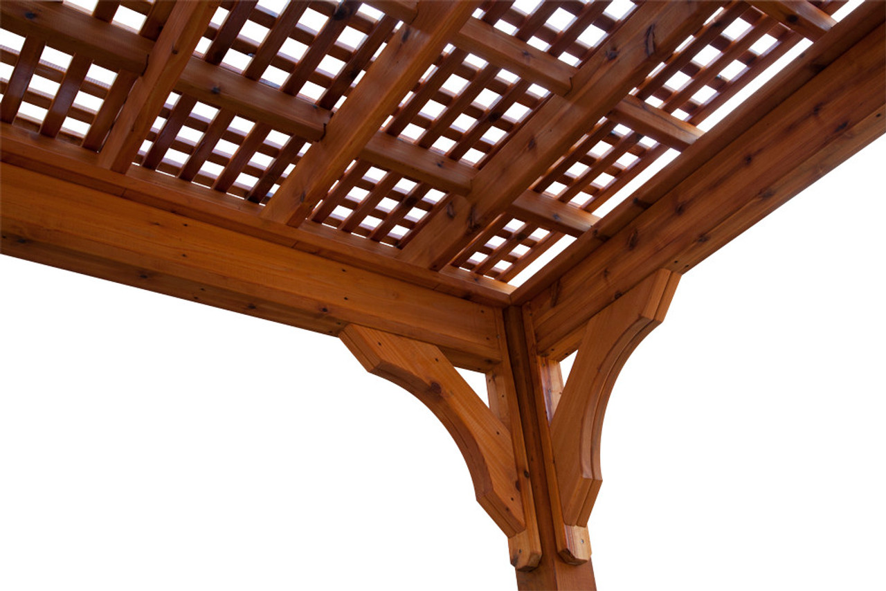 """Lattice Roof Option, featuring 1"""" x 2"""" red cedar runners arranged in a cross-hatch pattern. Sealed and stained as an option."""