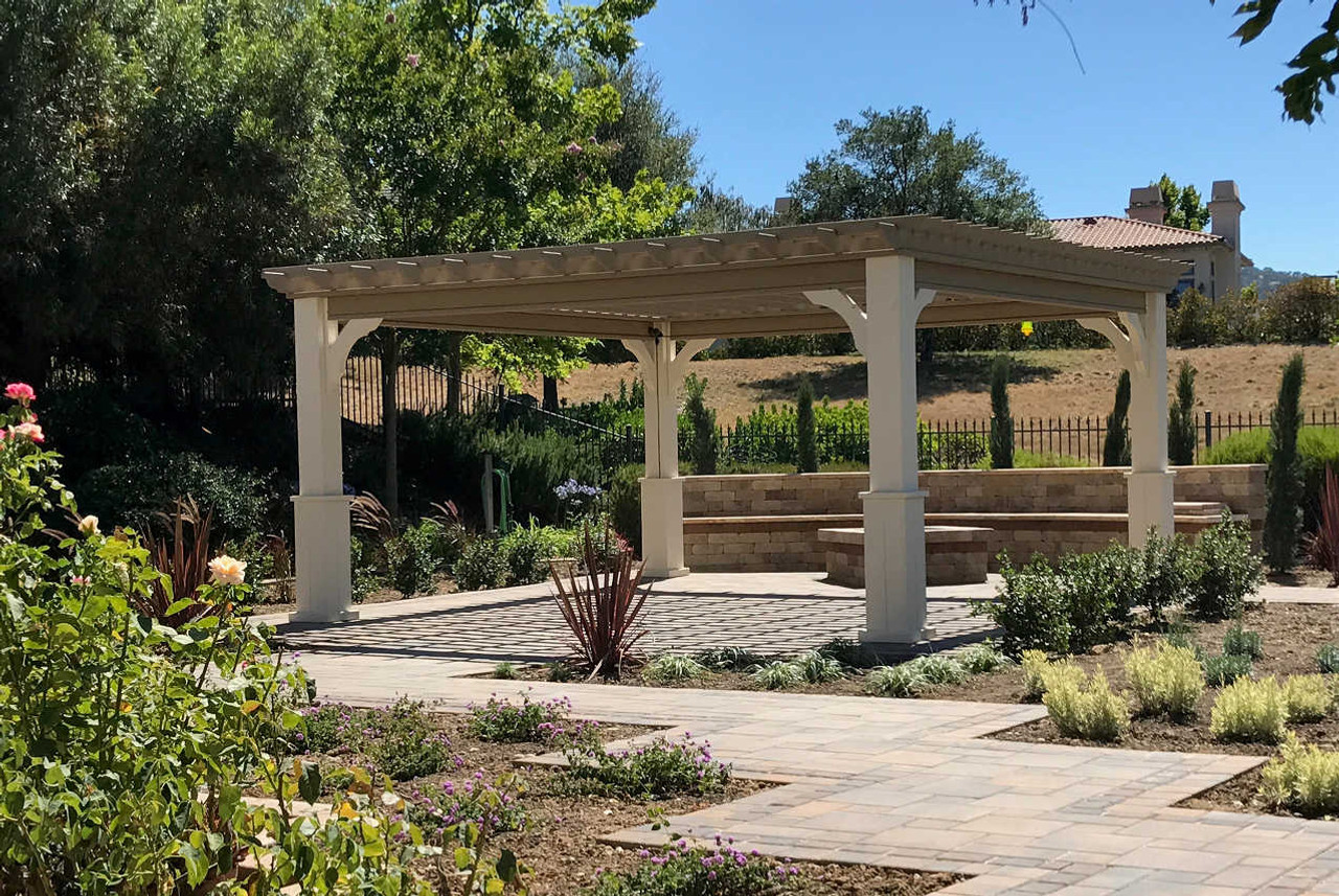 16x16 Serenity Pergola Kit / Western Red Cedar #1 Grade / Rafter and top runner spacing 8in on center / 10in square columns / Two tone custom paint application / Pleasanton, CA