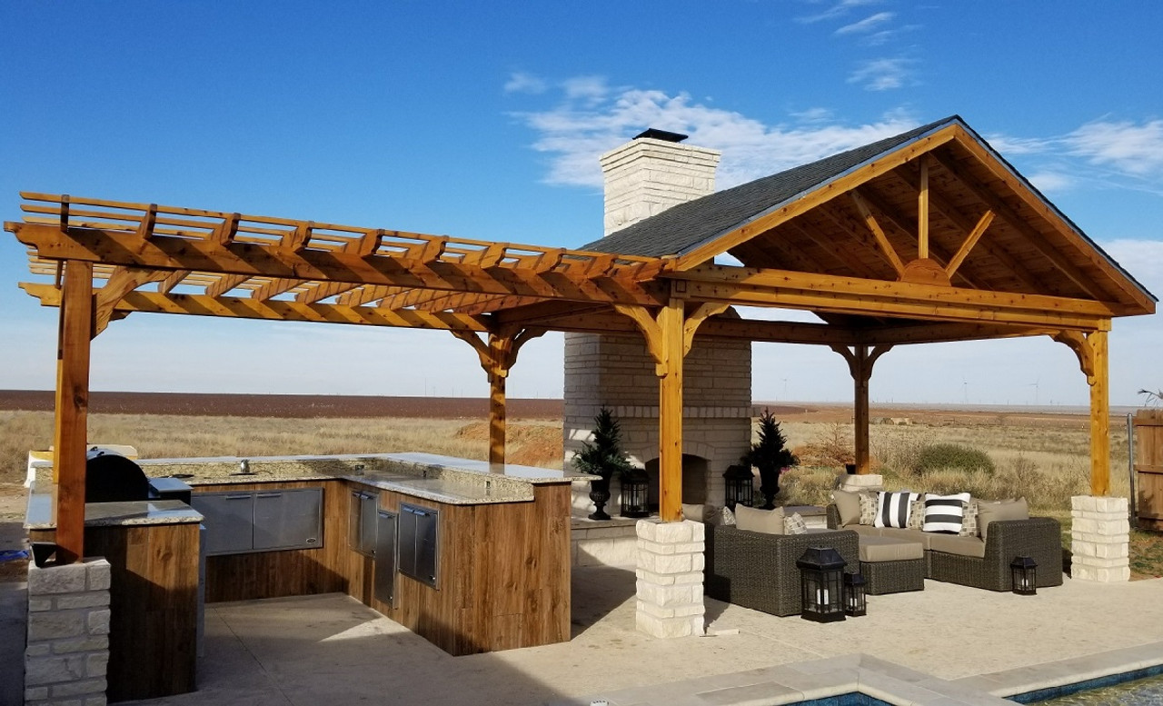 """18x12 open gable red cedar pavilion with 12x12 attached pergola / posts 9'-4"""" tall / Stanton, TX"""