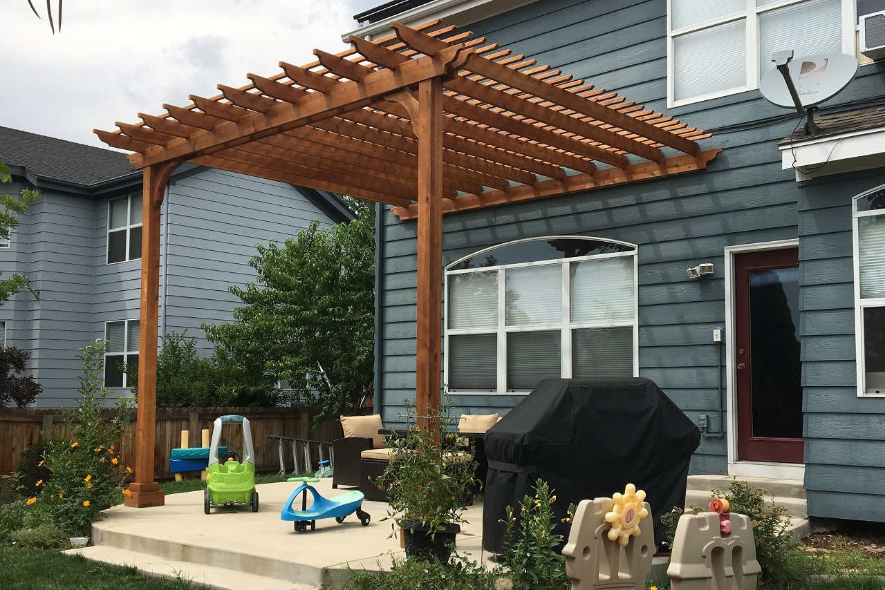 Cedar Pergola Kits Wall Mounted Attached To Home