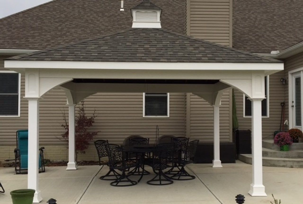 """16' x 16' Premium Vinyl Pavilion - Traditional Roof / 12 """" overhang on all sides / Weatherwood shingles / Cupola / Baltimore, OH."""