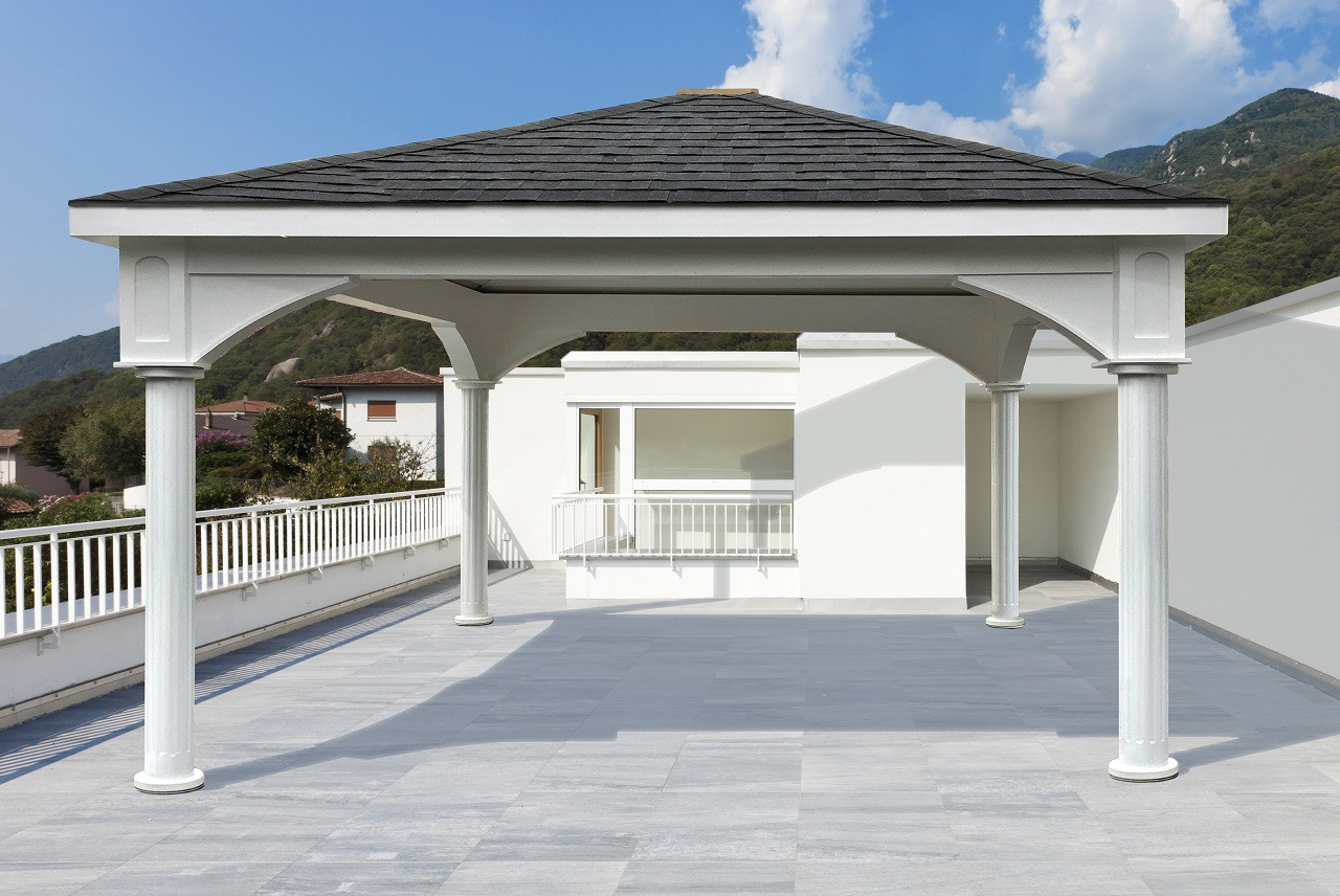 """Terrace Pergola with 6"""" round fluted posts"""