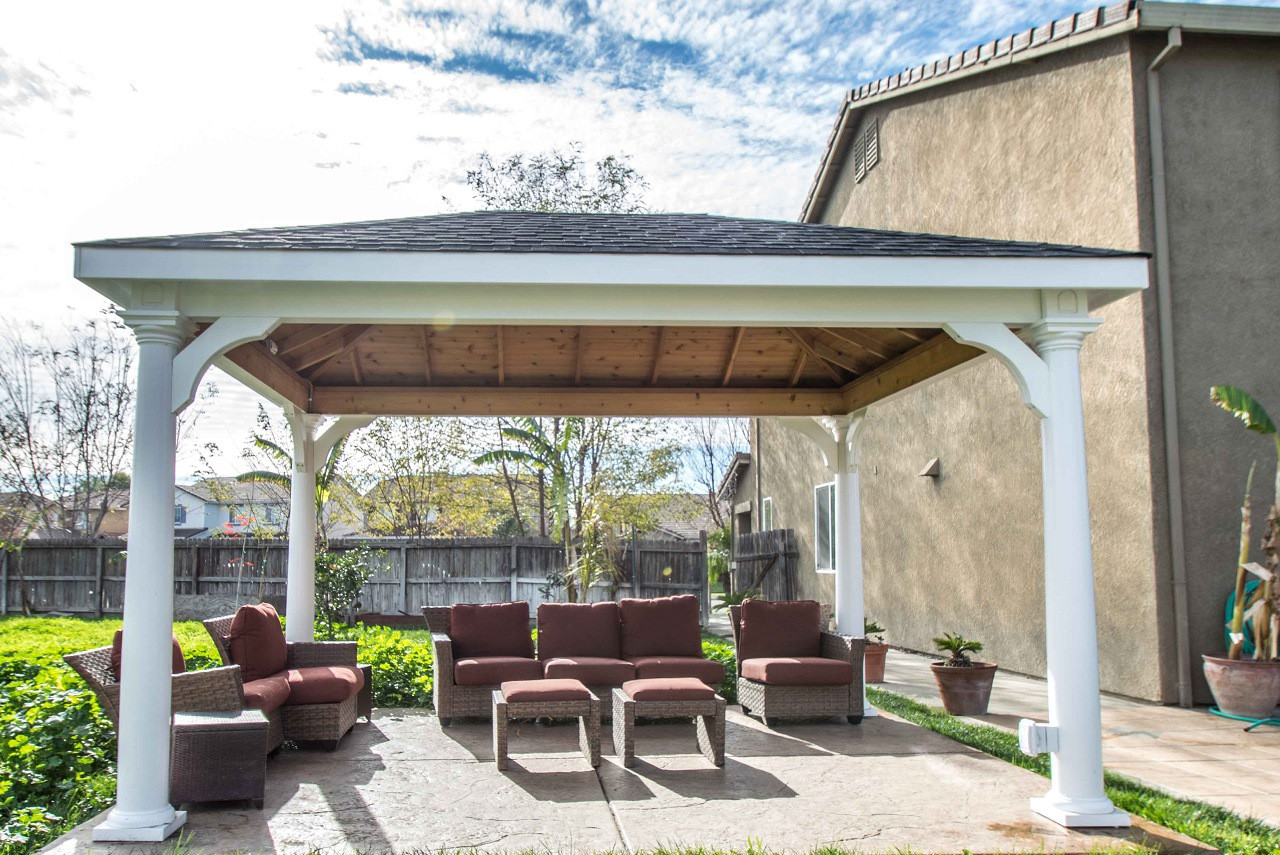 """10' x 14' roof span,  Traditional Roof Vinyl PVC Pavilion / Four 8"""" round vinyl tapered columns / Grass Valley, CA."""
