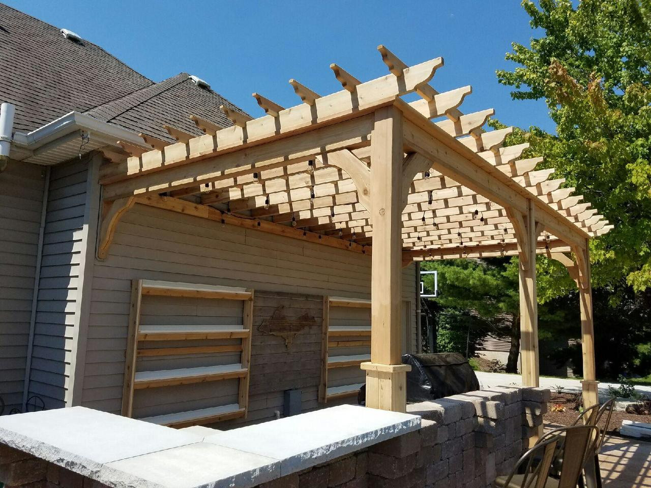 Attached Pergola Kits Wester Red Cedar Any And All Sizes