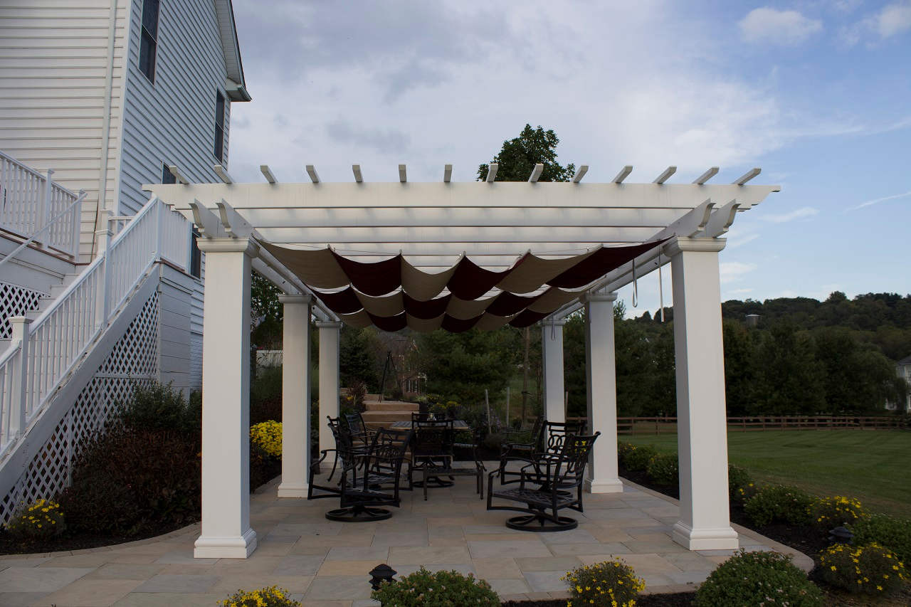 """26x16 structural fiberglass composite pergola kit / 12"""" sq. columns / Infinity Canopy™ featuring Sunbrella™ Fabric Burgundy and Linen / Middletown, MD"""