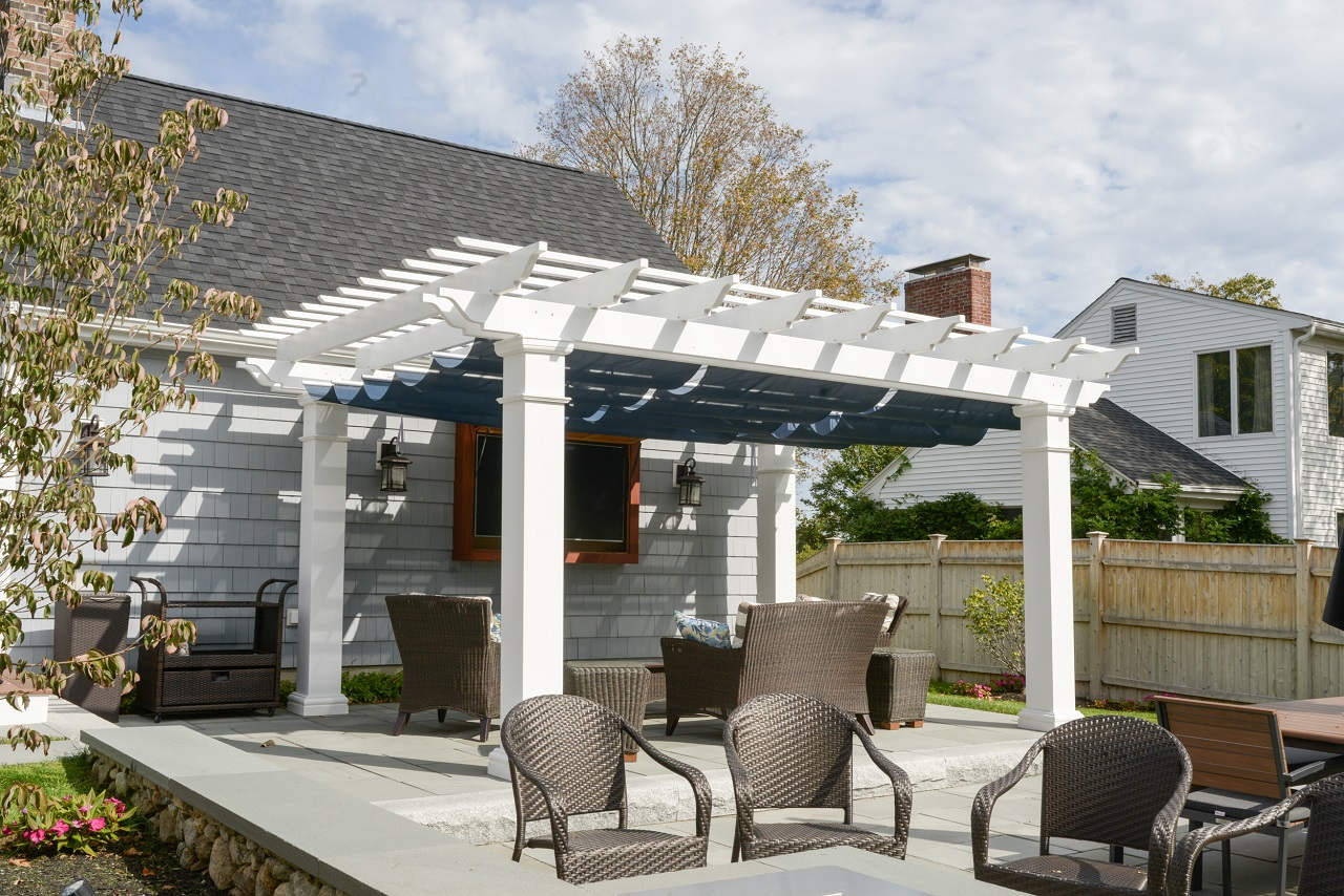 "18x12 structural fiberglass composite pergola kit / 10"" sq. columns / Infinity Canopy™ featuring Pfifertex Plus™ Fabric (Dupione Sapphire color) designed to block 92.5% of the sun's rays / Hingham, MA"