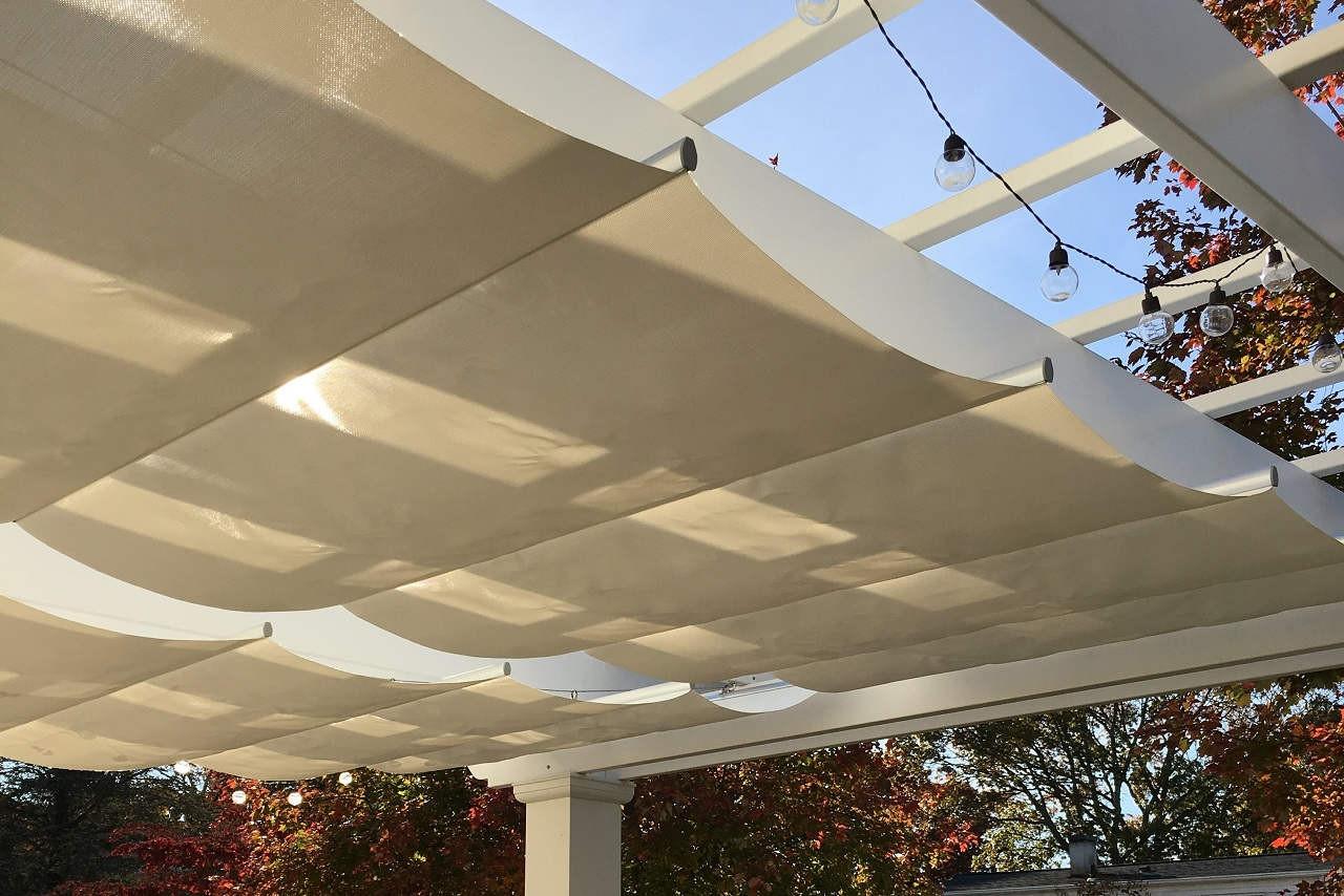 Retractable fabric Infinity Canopy Pfifertex™ Stucco Color / Massapequa, NY.