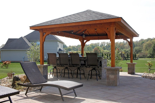 12x16 Patio Cover, Western Red Cedar, Rustic Black Asphalt Shingles, Cedar  Color Stain ...