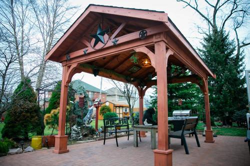 14 X 10 Gabled Pavilion Western Red Cedar Rustic Shingles