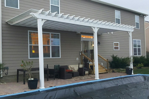 Wall Mounted Pergola Kit Premium Vinyl Attached To Home
