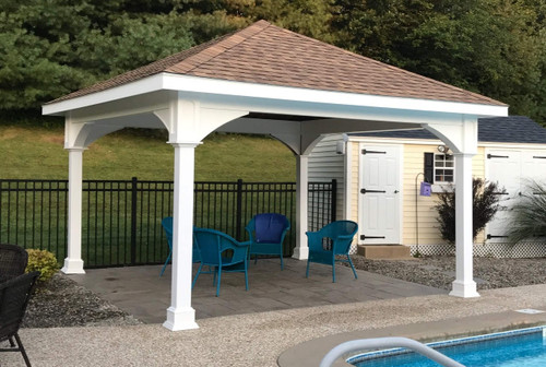 14x14 vinyl pavilion rustic cedar roof shingles 12 overhang all sides sterling - Wood Patio Covers