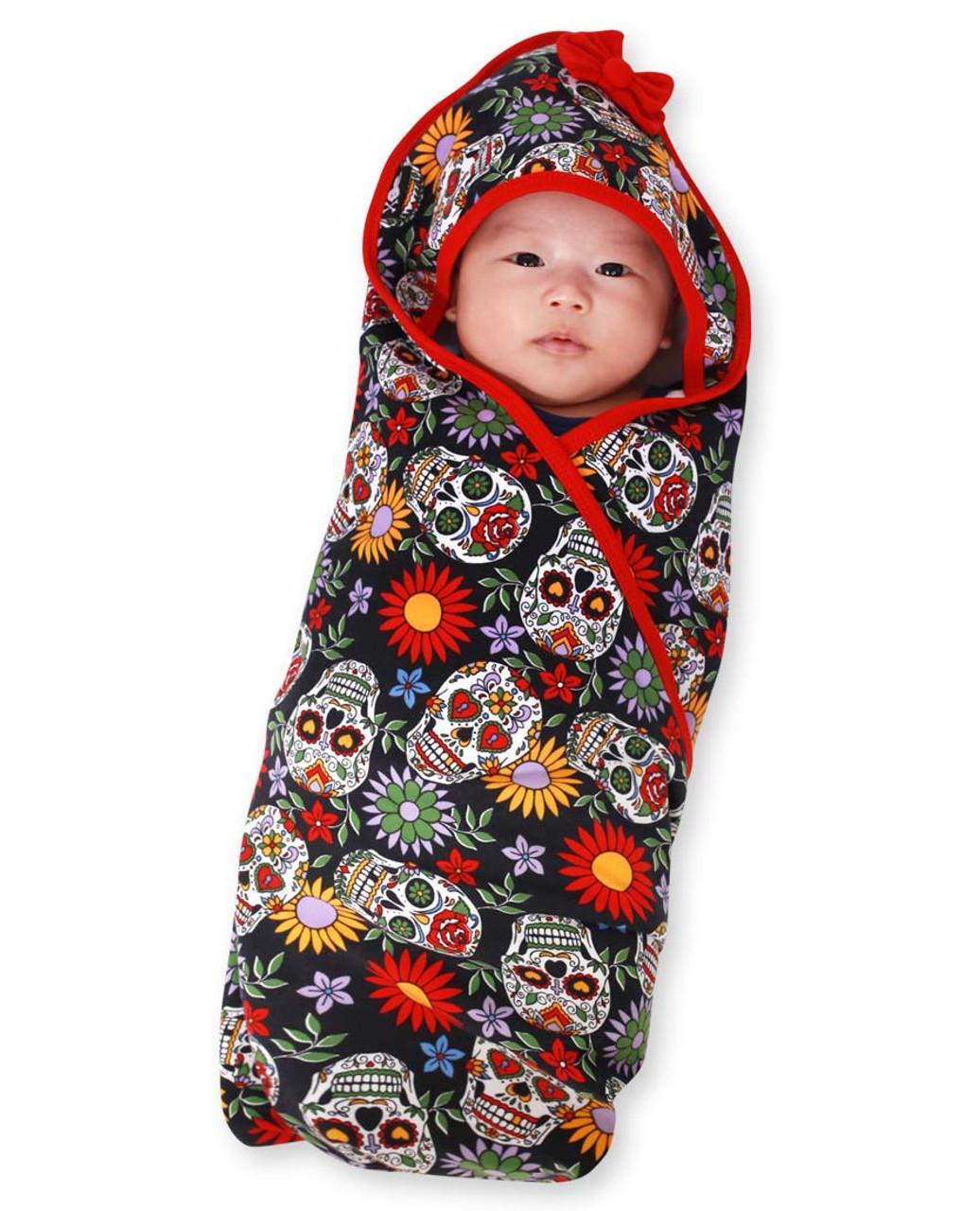 Six Bunnies Sugar Skulls Baby Wrap Blanket Hooded Towel Wrap