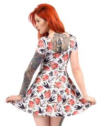 Liquorbrand Womens White Rose Tattoo Dress