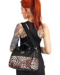 Liquorbrand Leopard Plush Leather Round Bag - model