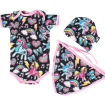 Six Bunnies Unicorn 3 pcs Gift Set - Onesie, Beanie and Bib