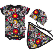 Six Bunnies sugar skull Onesie, Bib and Beanie