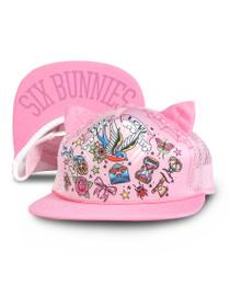 Six Bunnies True Love Tattoo Cap - Pink