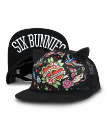 Six Bunnies Heart Tattoo Kids Cap