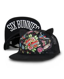Six Bunnies True Love Tattoo Cap - Black