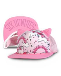 Six Bunnies Rainbows Unicorn Kids Cap - Pink