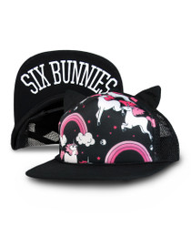 Six Bunnies Rainbows Unicorn Kids Cap - Black
