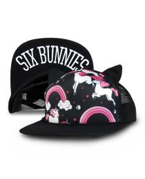 Six Bunnies Rainbow Unicorn Cap - Black