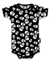 Six Bunnies Polka Skull Baby Romper Onesie