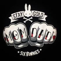 Six Bunnies Mom Dad Knuckles Baby Onesie Romper - close