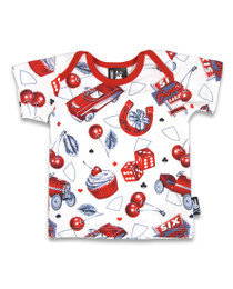 Six Bunnies Hot Rod Cherry Baby Pyjamas - top