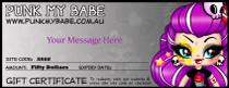 Punk My Babe Gift Voucher - $20, $50, $100, $150