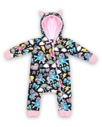 Six Bunnies Unicorns Hooded Romper