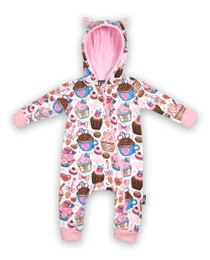 Six Bunnies Cupcakes Hooded Romper