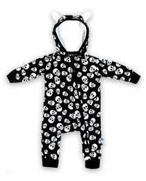 Six Bunnies Polka Skulls Hooded Romper | Size NB Left